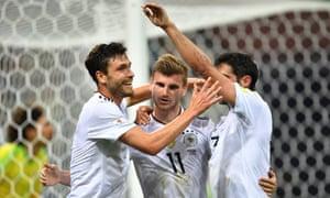 Timo Werner celebrates scoring Germany's third goal.