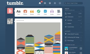 View of the Tumblr dashboard.
