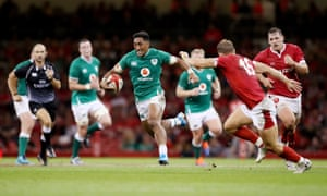Ireland's Bundee Aki looks to make a dent in the Wales defence during their warm-up game last month