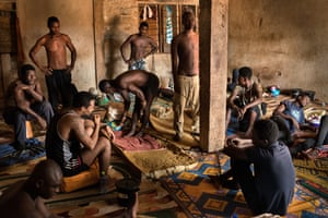 A group of patients chained up at Edwuma Woho herbal centre