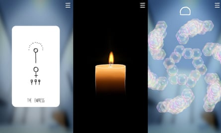 #SelfCare offers mini-games featuring tarot cards, candles and breathing.