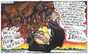 Martin Rowson cartoon 16.2.21: Boris Johnson assailed by demonic suits
