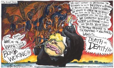 Martin Rowson on the devils at Boris Johnson's shoulder — cartoon
