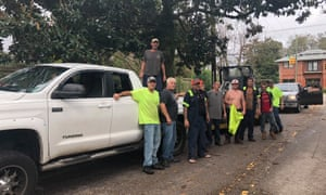 Men who have come to Wilmington, North Carolina, from other parts of the state to help with the recovery process.