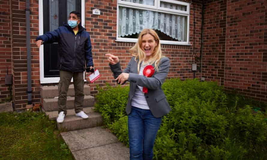 Kim Leadbeater campaigning in the constituency where her older sister Jo Cox was murdered in June 2016