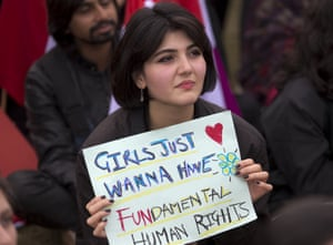 A woman takes part in a rally in Islamabad, Pakistan
