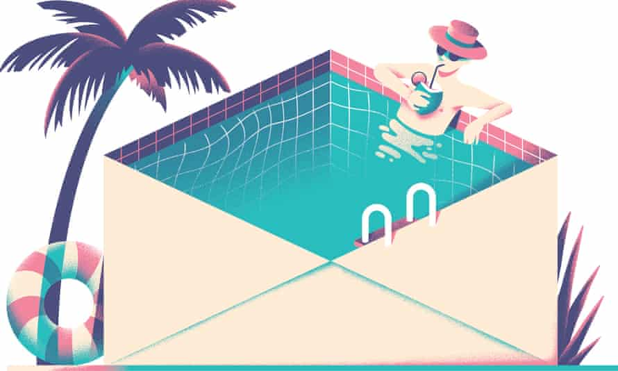 Man sipping drink in swimming pool in shape of envelope