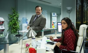 Ricky Gervais and Mandeep Dhillon in David Brent: Life on the Road.