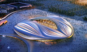 A computer-generated image of Zaha Hadid's World Cup stadium in Qatar.