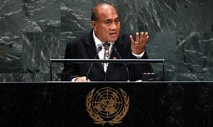 President of Kiribati Taneti Maamau addresses the UN general assembly in 2019