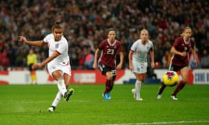 England's Nikita Parris misses from the penalty spot.