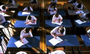 children doing school exam