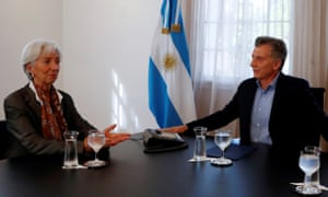 Christine Lagarde and Mauricio Macri at the Olivos presidential residence in Buenos Aires