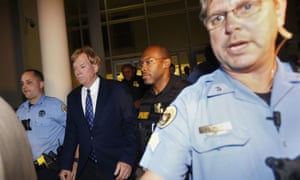 David Duke is escorted from tonight's debate.