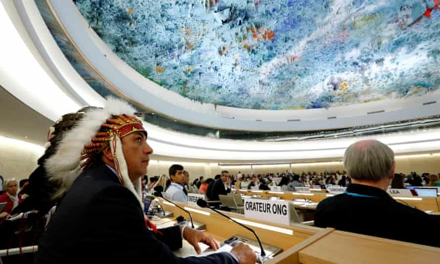 Dave Archambault II, chairman of the Standing Rock Sioux tribe, waits to give his speech against the Dakota Access oil pipeline in Geneva, Switzerland on Tuesday.