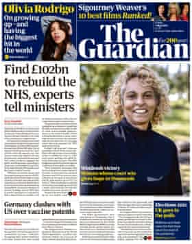 Guardian front page, Friday 7 May 2021