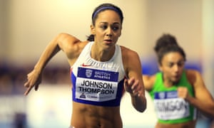 Katarina Johnson-Thompson in action in the women's 60m hurdles at the British Athletics Indoor Team Trials n Sheffield.