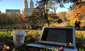 Laptop, coffee, central park view