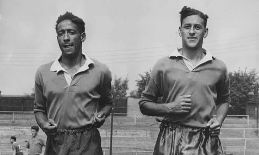 Tony Collins (right) and Roy Brown training with Watford in August 1957.