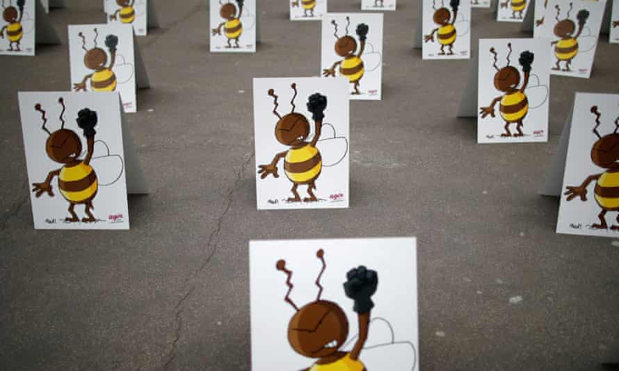 A protest in Paris earlier this year highlighting the threat of neonicotonoids on bees. March 9, 2021. REUTERS/Gonzalo Fuentes