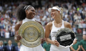 Serena Williams and Angelique Kerber with their trophies.