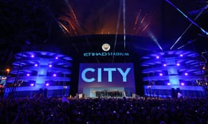Manchester City celebrate winning the Premier League last May at the Eithad Stadium.
