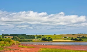 Farms, fields, water and beaches of the pastoral landscape of Prince Edward Island, Canada.