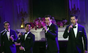 Members the cast of Jersey Boys perform during the post-state dinner reception.