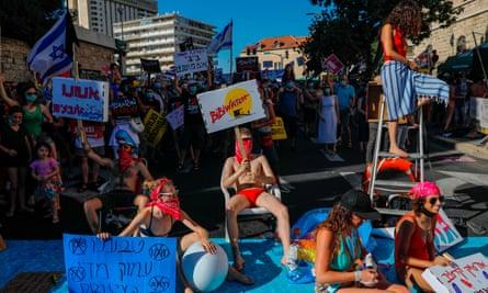 Israeli protesters in Jerusalem.