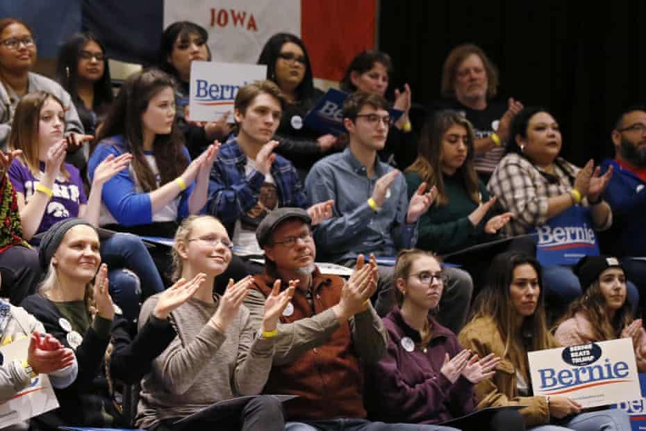 Supporters of Bernie Sanders Friday Iowa City, Iowa.