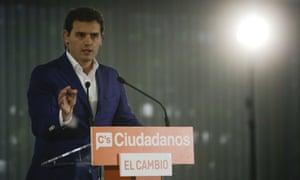 Ciudadanos' (Citizens) party leader Albert Rivera gestures during a news conference after the regional and municipal elections in Madrid.