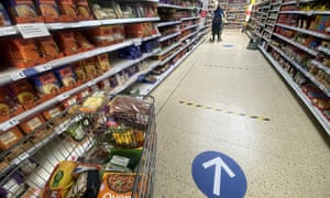 A one-way system in a Tesco supermarket introduced during the coronavirus pandemic