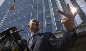 Attorney Michael Avenatti speaks to reporters in Los Angeles.
