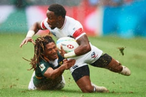 Carlin Isles of the USA is tackled during a game against South Africa in Sydney earlier this month.