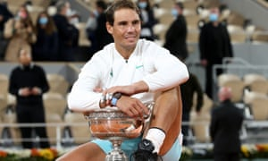 Rafael Nadal with his 13th French Open trophy.