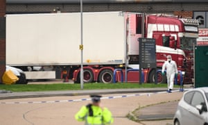 The container lorry leaves Waterglade industrial park in Grays as it is moved to Tilbury