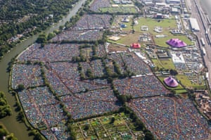 <strong>Reading, England</strong> The festival site is viewed from the air next to the River Thames on Day 1 of The Reading Festival at Richfield Avenue