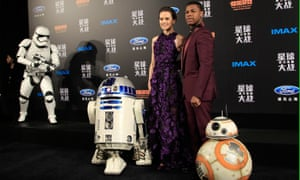 Daisy Ridley, left, and John Boyega attend the Star Wars premiere in Shanghai, China.