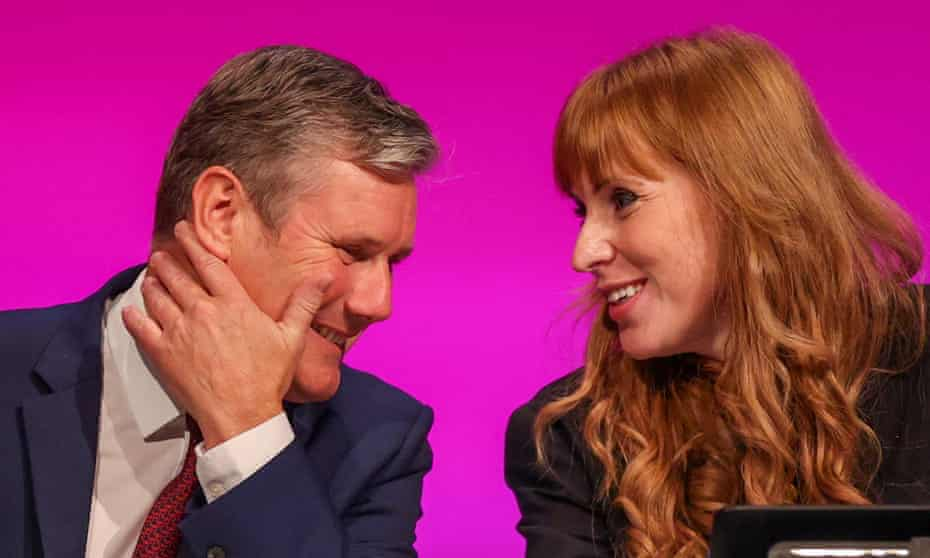 The Labour leader Keir Starmer and deputy leader Angela Rayner at the party's conference in Brighton on Saturday.
