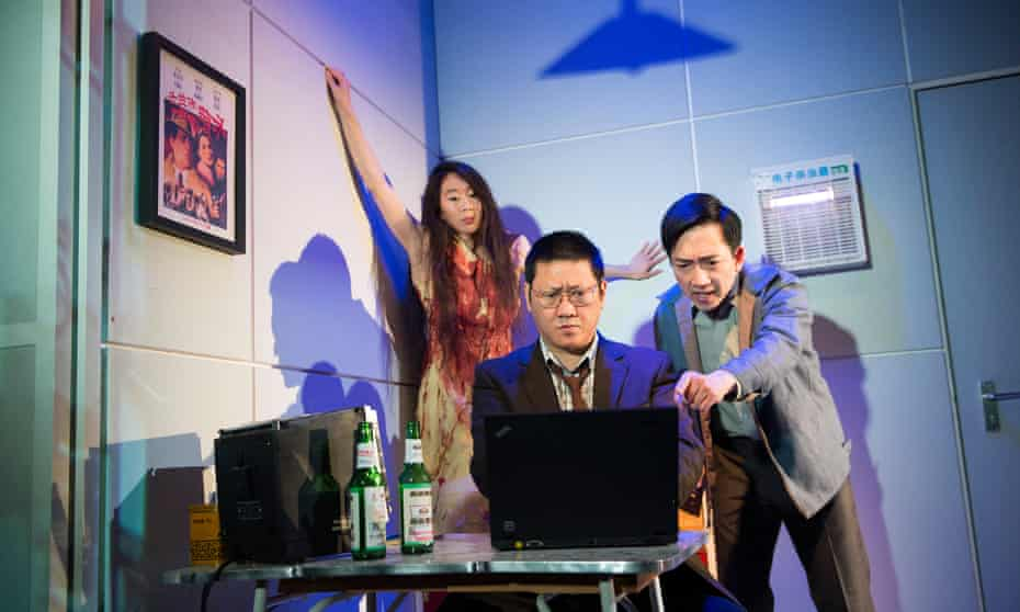 A glorious epic … Elizabeth Chan, Benedict Wong and David KS Tse in Lucy Kirkwood's Chimerica.