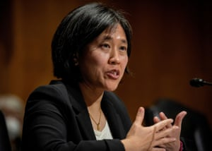 Katherine C. Tai addresses the Senate Finance committee hearings to examine her nomination to be United States Trade Representative in February.