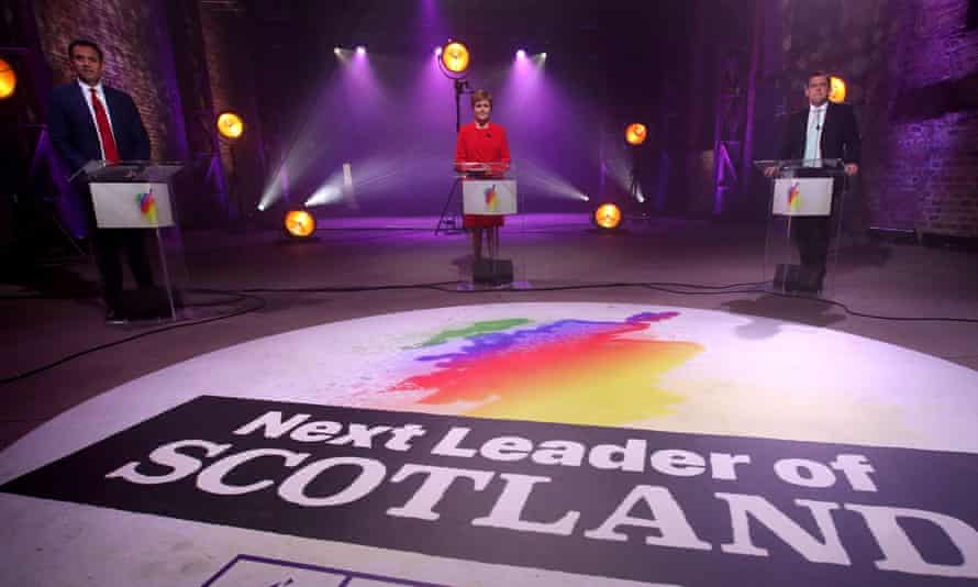 The Scottish Labour leader, Anas Sarwar, the first minister and leader of the SNP, Nicola Sturgeon, and the Scottish Conservative party leader, Douglas Ross, take part in a debate in Glasgow.