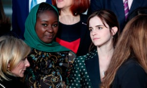 Emma Watson, right, alongside Mauritanian activist Aïssata Lam at the first meeting of the G7 advisory committee for gender equality at the Élysée Palace in Paris. Photograph: Yoan Valat/AFP/Getty Images
