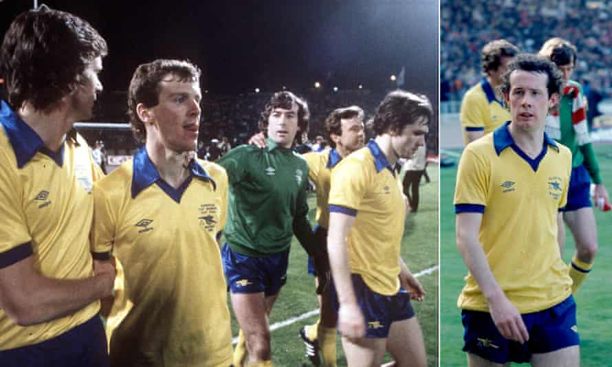 Two finals, one expression: dejection. Graham Rix is consoled by Steve Walford after the Cup Winners' Cup final and by Liam Brady after the FA Cup final.