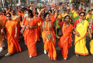 Kolkata, India Women attend a protest march against a rise in fuel prices