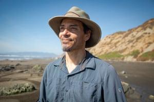 Andres Amador on a beach near San Francisco.