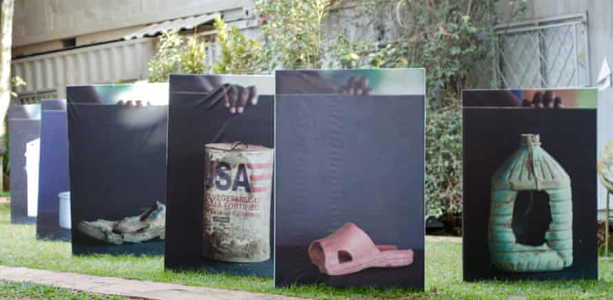 Works by Bathsheba Okwenje, a Ugandan artist whose residency at 32° East looked at conflict and the politics of migration and return through everyday objects.