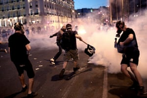 Protesters clash with riot police in Athens, Greece