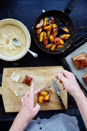 constructing the caramelised peach french pastries