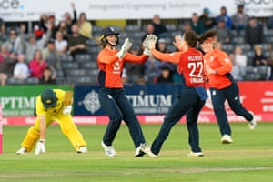 Mady Villiers of England celebrates taking the wicket of Ashleigh Gardner of Australia.